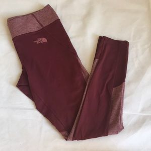 The north face red/burgundy capri leggings size M